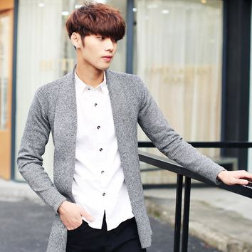 Charming men sweater youth thin section fashion shawl long cardigan