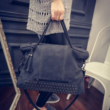 Black Studded Leather Crossbody Shoulder Handbag