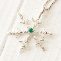 Silver Snowflake Necklace, Birthstone Jewelry, Winter Wonderland