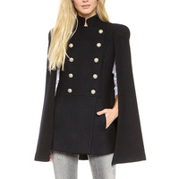 Black Stand Collar Cape Coat