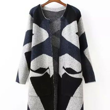 Geometric Pattern Double Pocket Knitted Long Cardigan