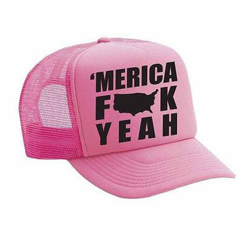 Merica F**k Yeah Single Color Trucker Cap