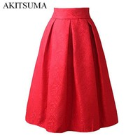 DK7G2 AKITSUMA Summer Midi Skirts Womens High Waist A-Line Skirt Knee-Length Casual Solid Polyester Skirt Red White Black