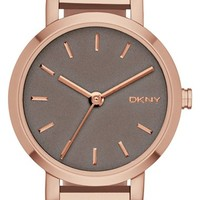 Women's DKNY 'Soho' Logo Round Bangle Watch, 24mm - Grey/ Rose Gold