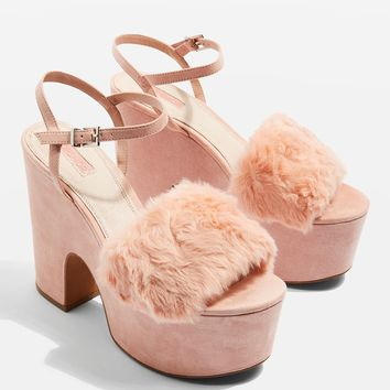 LASH Two Part Faux Fur Sandals | Topshop