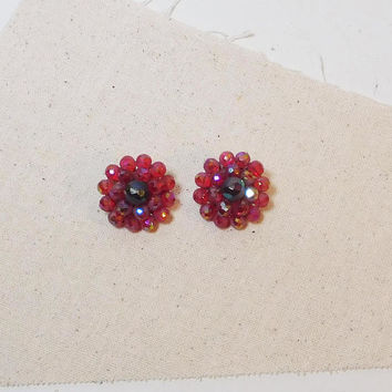 Red Beaded Clip On Earrings, Signed Schiaparelli, Faceted, Frosted Crystal, Dark Red, Blood Red, Crystal Beads, Round, Art Nouveau