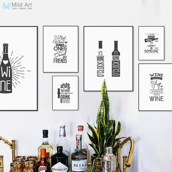 Black and White Wine Beer Bottle Typography Inspire Quotes Poster Nordic Kitchen Wall Art Picture Bar Home Decor Canvas Painting