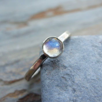Rose Cut Rainbow Moonstone Stacking Ring in Sterling Silver