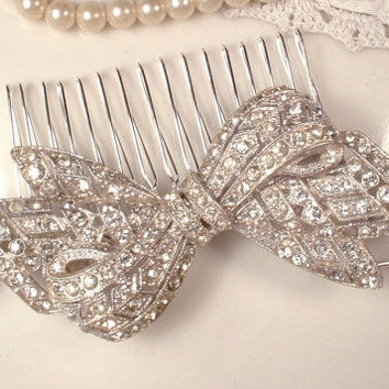 Brooch OR Hair Comb,  Art Deco 1920s Original Vintage Clear Pave Rhinestone Large Bow Bridal Head Piece or Dress Sash Pin, Antique Gatsby