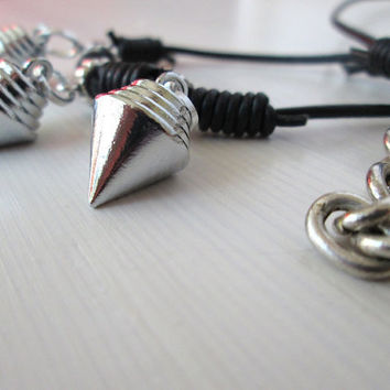 Grunge style mens spike neck-jewelry,  Leather accessorie for men, Gift for men, Mens necklace, Raw style