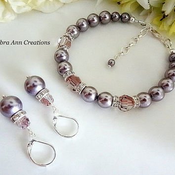 Swarovski Pink Crystal Mauve Pearl Bracelet and Earring Set Fall Wedding Bridal Bridesmaid Gift Set Formal Jewelry Mother of Bride Groom