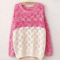 Contrast round neck colorful sweater