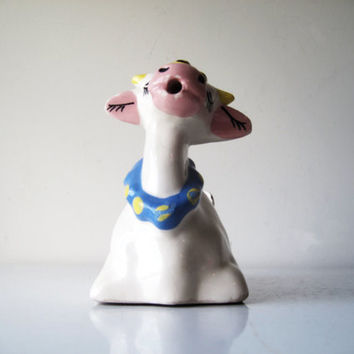 Midcentury Vintage Cow Creamer Ceramic Handle Retro Kitchen Planter Trinket Holder