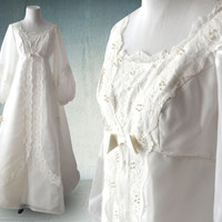 1960s Boho Wedding Gown White Organza and Lace with Pearls and Long Sleeves