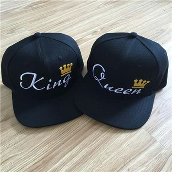 Trendy Winter Jacket KING QUEEN Embroidery Snapback Hat Acrylic Men Women Couple Baseball Cap Gifts Fashion Hip-hop Sport Caps 2016 Hot Sale AT_92_12