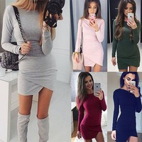 Fashion Women's Round Neck Irregular Skirt Package Hip Dresses