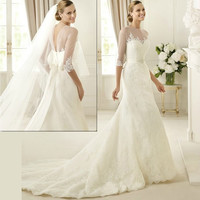 Couture Ivory White 3/4 Long Sleeve Vintage Style Wedding Bridal Gowns SKU-118074