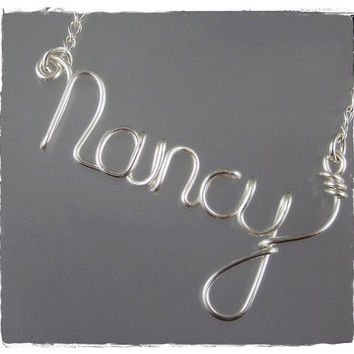 FREE SHIPPING!!!  Nancy Wire Word Name Pendant Necklace