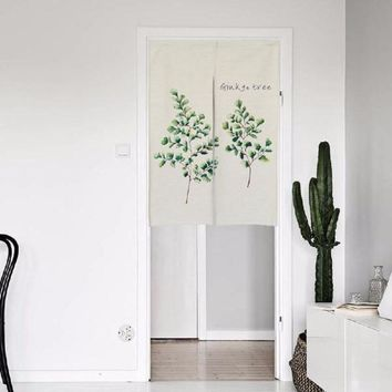 """Japanese Noren Doorway Curtain / Tapestry 33.5"""" Width x 47.2"""" Long with Watercolor Ginkgo Leaf"""