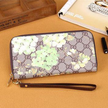 DCCK Gucci' Women Purse Fashion Double G Flower Print Zip Long Section Wallet Handbag