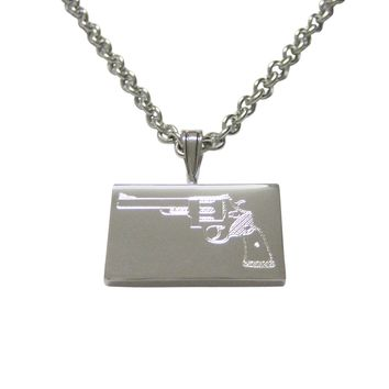 Silver Toned Etched Revolver Gun Pistol Pendant Necklace
