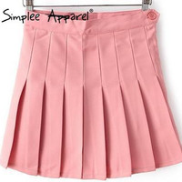 Simplee Apparel Europe women clothing bodycon solid candy colors woman pleated skirt tennis skirt plus size quality