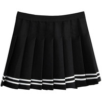 Striped Print Pleated Mini Skirt