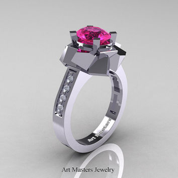 New Modern 14K White Gold 1.0 Ct Oval Pink Sapphire Accent White Diamond Engagement Ring AR136-14KWGDPS