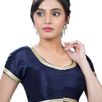 Elegant Navy Blue Party-wear Silk Sari Blouse SNT-X-256-SL