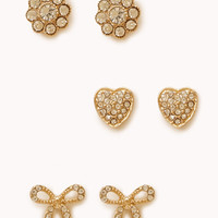 Heart & Bow Stud Set