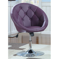 Coaster Furniture 102581 Contemporary Round Tufted Purple Swivel Chair