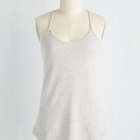 Minimal Mid-length Spaghetti Straps Peace and Kayak Top in Dove