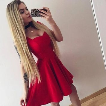 New Women Red Draped A-line Deep V-neck Sleeveless Elegant Mini Dress