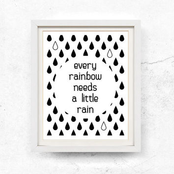 Rainbow illustration, Inspirational quote, Printable wall art, Black and white, Wall art printable, woodland, Quote print, 8x10, 11x14