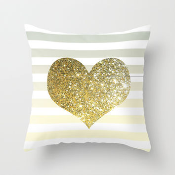 GLITTER GOLD HEART Throw Pillow by colorstudio