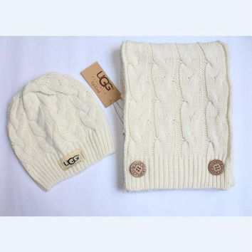 ONETOW Day-First? x1love UGG Women Men Winter Knit Hat Cap Scarf Set Two-Piece