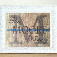 Personalized Wedding Gift -Thin Blue Line Burlap Monogram, Wedding, Anniversary Print- Family Name Sign, Police Officer Wedding Gift, USA