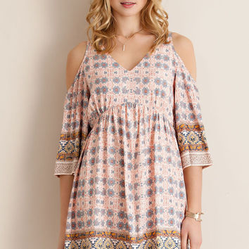 Printed Cold Shoulder Dress - Peach