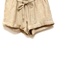 Warmer Weather Cuffed Linen Blend Shorts, Taupe