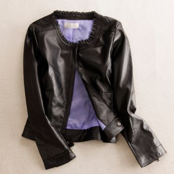 Spring new fashion street style long-sleeved lace collar jacket PU leather jacket