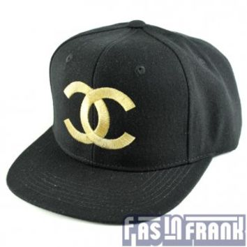 Chanel Style Gold on Black Snapback Hat | F as in Frank Vintage Clothing