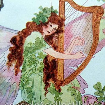 St Patricks Day Fairy Queen Playing Harp Book Art by Anna M. Scott Art Deco Litho Irish Dancing Leprechauns Shamrock Clover Fairies 1st ED