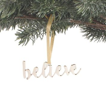 Gold Script Believe Ornament