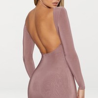 Dark Mauve Second Skin Slinky Scoop Back Bodycon Dress