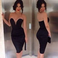 Black Strapless Sweetheart Bodycon Dress