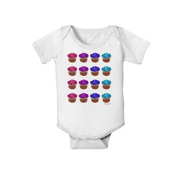 Colorful Cupcake Pattern Baby Romper Bodysuit by TooLoud