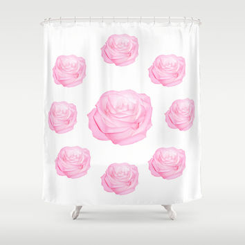 Pastel Pink Roses Shower Curtain by Laureenr