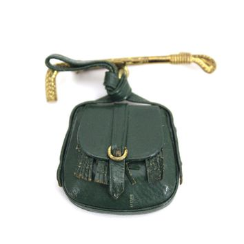 Vintage 1930s Equestrian Brooch Brass Horse Crop and Miniature Saddle Bag Green Leather