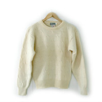 Unisex Vintage Sweater ~ Size S ~ Thick Wool Knit Cream Sweater ~ By North Country