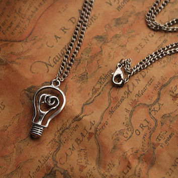 bulb necklace,retro silver light bulb pendant necklace---N009